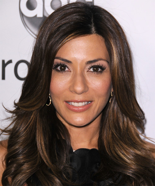 Marisol Nichols Long Wavy Formal Hairstyle - Dark Brunette Hair Color