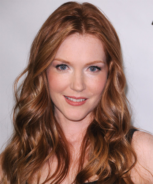 Darby Stanchfield  Long Wavy Hairstyle - Medium Red (Ginger)