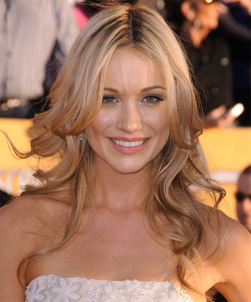 Katrina Bowden Long Wavy Hairstyle - Medium Blonde (Ginger)