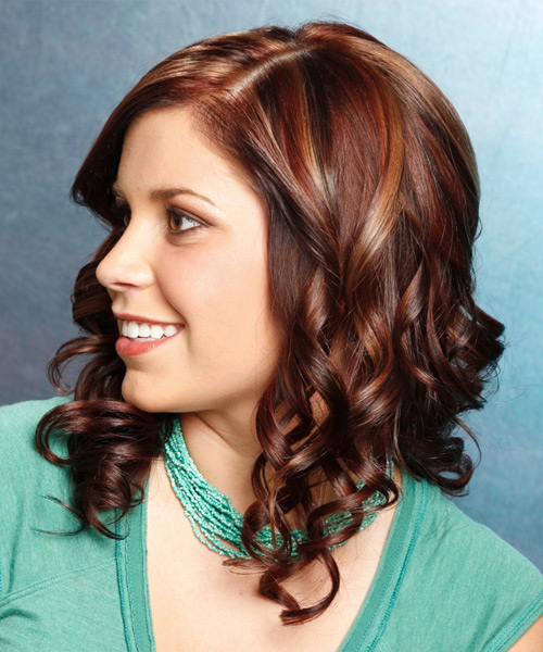 Long Curly Formal Hairstyle - Dark Brunette (Auburn) Hair Color