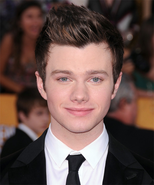 Chris Colfer Short Straight Hairstyle - Dark Brunette (Chestnut)