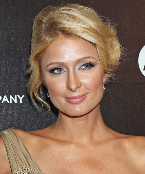 Paris Hilton Straight Casual Updo Hairstyle - Light Blonde (Golden) Hair Color