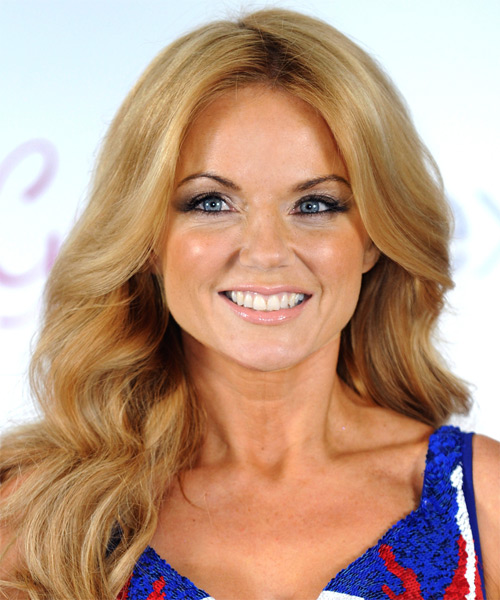 Geri Halliwell Long Wavy Casual Hairstyle - Medium Blonde (Strawberry) Hair Color