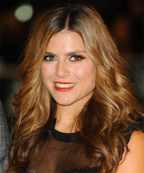 Zoe Hardman Long Wavy Casual Hairstyle - Medium Brunette (Golden) Hair Color