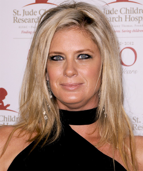Rachel Hunter Long Straight Casual Hairstyle - Medium Blonde Hair Color