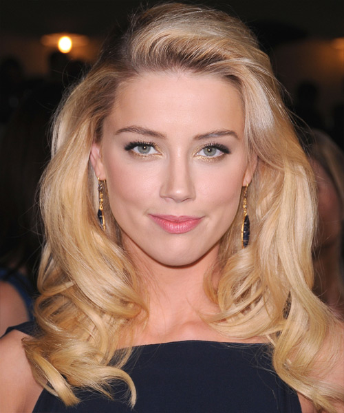 Amber Heard Long Wavy Formal Hairstyle - Medium Blonde (Honey) Hair Color