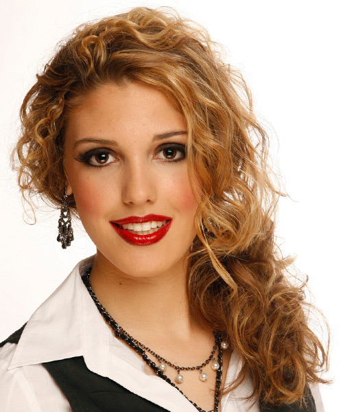Curly Formal Half Up Hairstyle - Dark Blonde (Copper) Hair Color