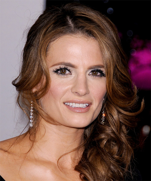 Stana Katic Half Up Long Curly Hairstyle - Medium Brunette (Copper)