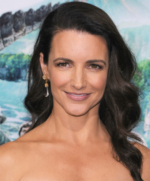 Kristin Davis Long Wavy Casual Hairstyle - Dark Brunette Hair Color