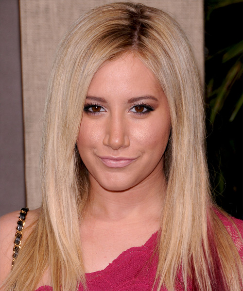 Ashley Tisdale Long Straight Casual Hairstyle - Light Blonde (Copper) Hair Color