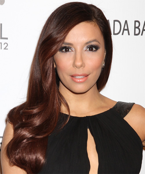 Eva Longoria Parker Long Wavy Formal Hairstyle - Medium Brunette (Burgundy) Hair Color