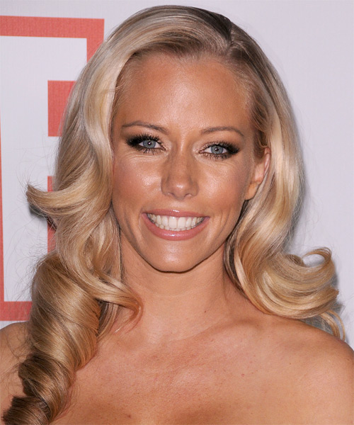 Kendra Wilkinson Long Wavy Formal Hairstyle - Medium Blonde (Honey) Hair Color