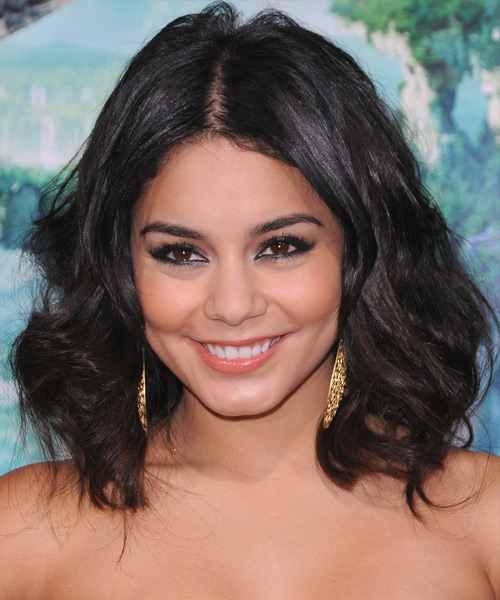 Vanessa Hudgens Medium Wavy Casual Bob Hairstyle - Dark Brunette Hair Color