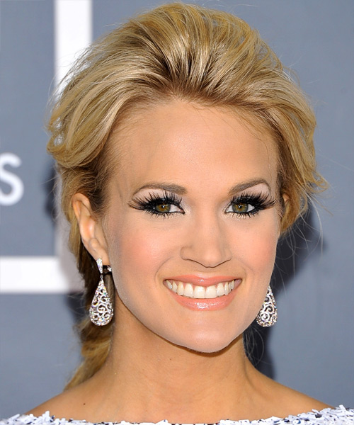 Carrie Underwood Updo Long Straight Formal Updo Hairstyle - Medium Blonde (Golden) Hair Color