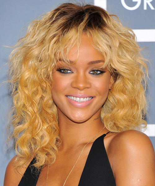 Rihanna Medium Wavy Casual Shag Hairstyle with Layered Bangs - Medium Blonde (Golden) Hair Color