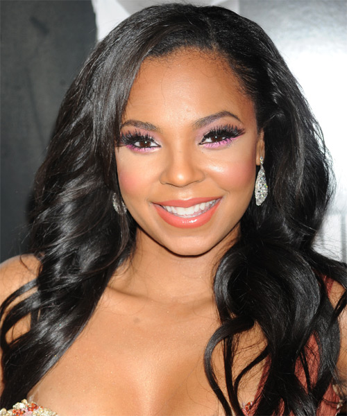 ashanti long wavy casual hairstyle black hair color