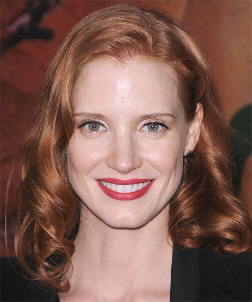 Jessica Chastain Medium Wavy Hairstyle - Medium Red (Copper)