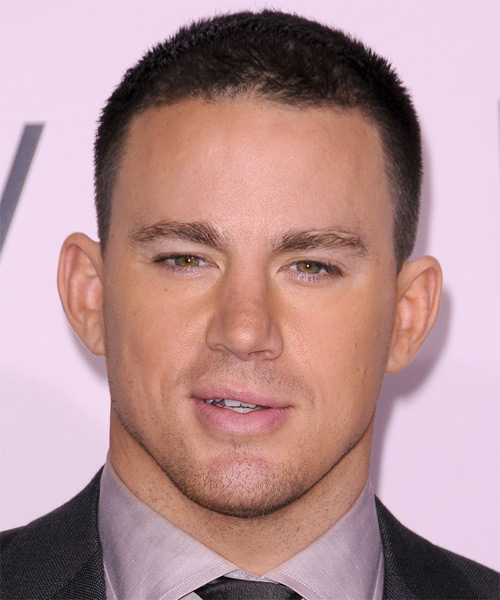 Channing Tatum Short Straight Casual Hairstyle - Dark Brunette Hair Color