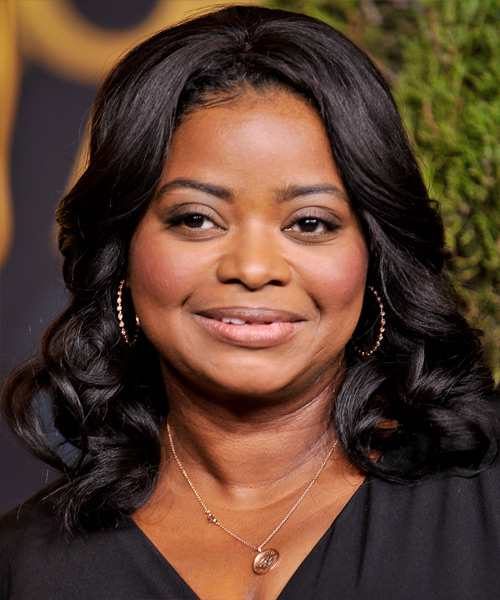 Octavia Spencer Medium Wavy Hairstyle - Black