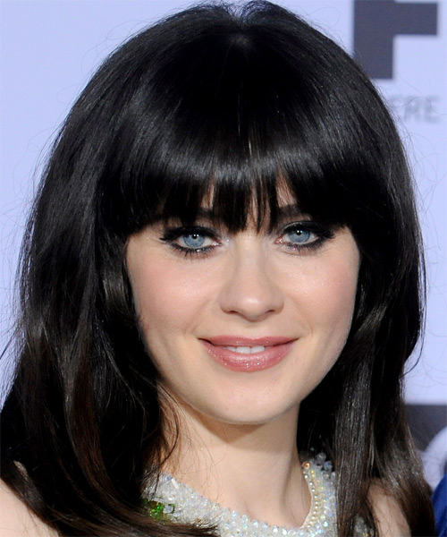 Zooey Deschanel Long Straight Casual Hairstyle with Blunt Cut Bangs - Black Hair Color