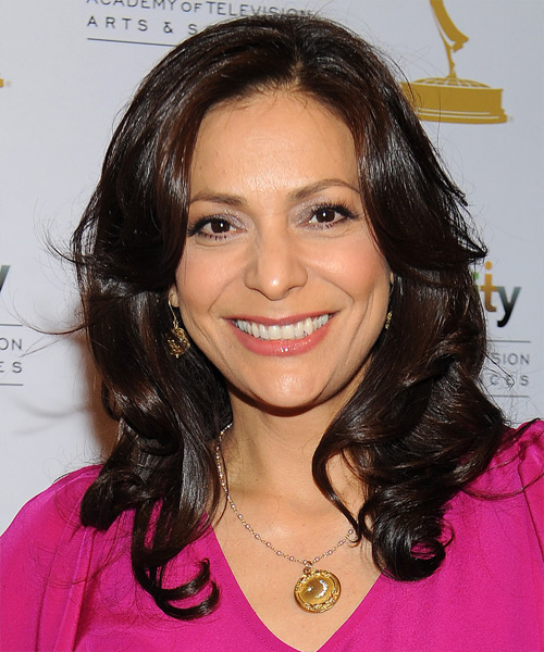 Constance Marie Medium Wavy Formal Hairstyle - Dark Brunette Hair Color