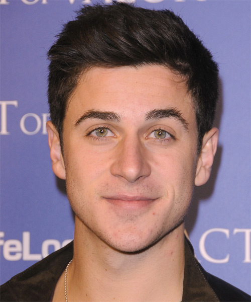 David Henrie Short Straight Hairstyle - Dark Brunette (Chocolate)
