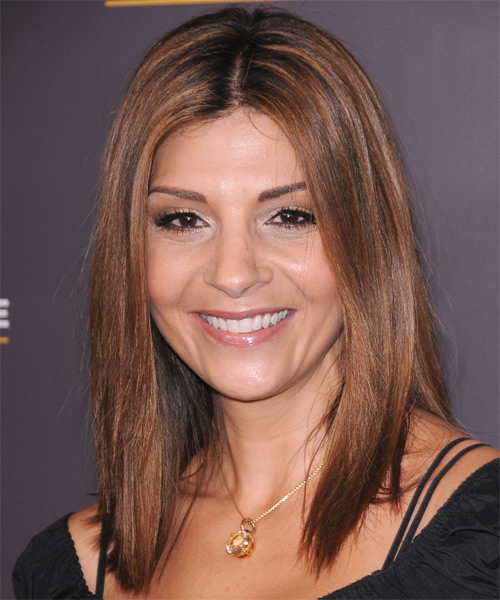 Callie Thorne Medium Straight Casual Hairstyle - Dark Brunette Hair Color