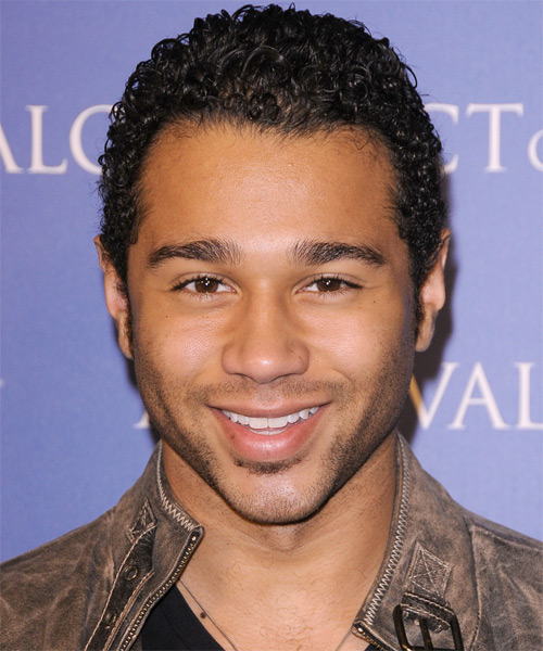 Corbin Bleu Short Curly Casual Afro - Dark Brunette