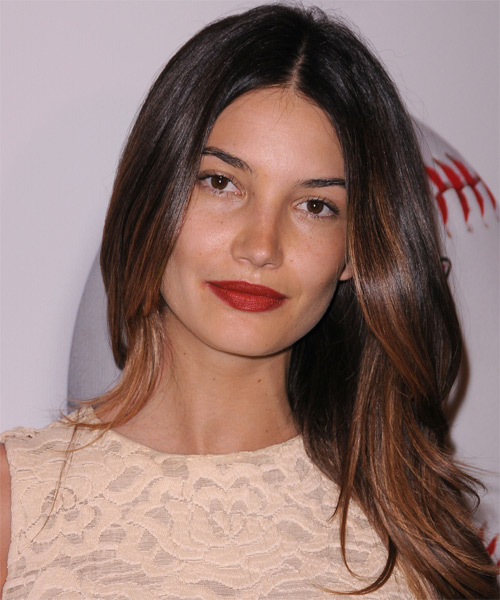 Lily Aldridge Long Straight Hairstyle - Dark Brunette