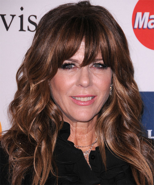 Rita Wilson Long Wavy Casual Hairstyle - Dark Brunette Hair Color