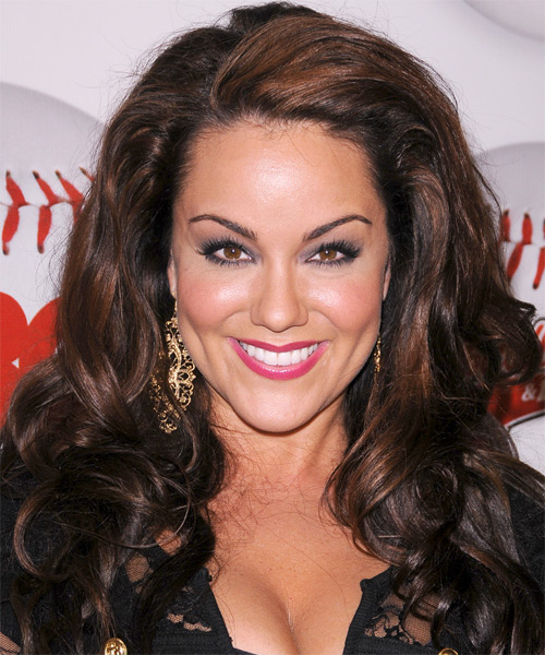 Katy Mixon Long Wavy Formal Hairstyle - Medium Brunette Hair Color