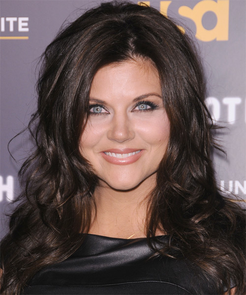 Tiffani Thiessen Long Straight Hairstyle - Dark Brunette (Chocolate)