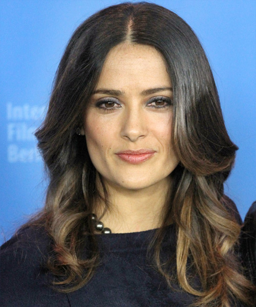 Salma Hayek Long Wavy Hairstyle - Black