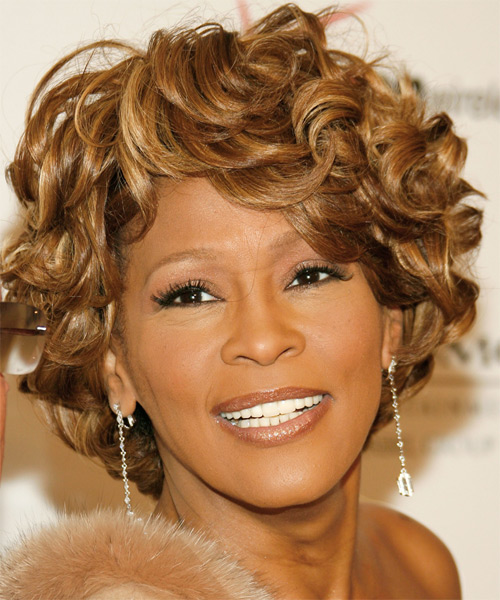 Whitney Houston Short Curly Hairstyle - Light Brunette (Caramel)