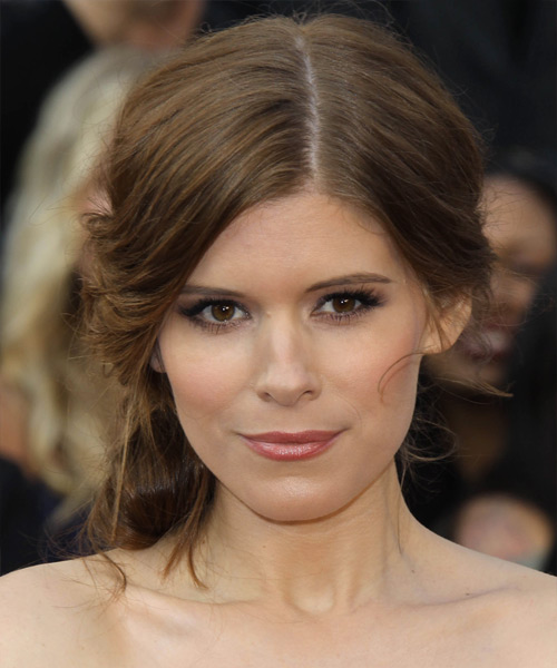 Kate Mara Formal Curly Updo Hairstyle - Medium Brunette