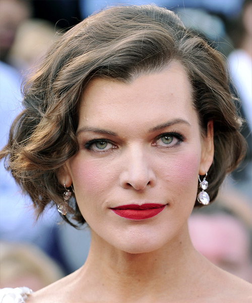 Milla Jovovich Short Wavy Formal Bob Hairstyle - Light Brunette Hair Color