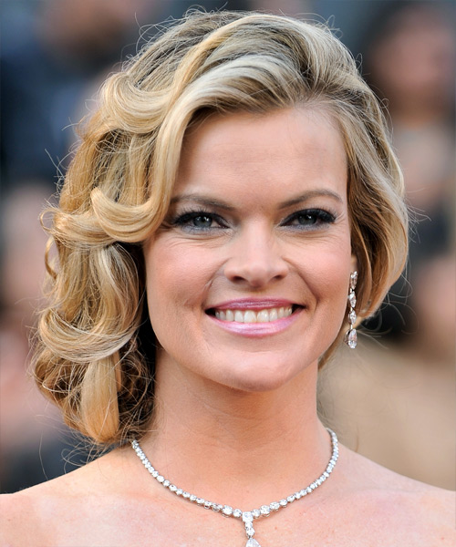 Missi Pyle Curly Formal Updo Hairstyle - Medium Blonde Hair Color