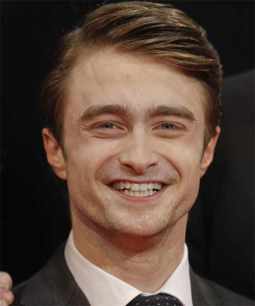 Daniel Radcliffe Short Straight Formal Hairstyle with Side Swept Bangs - Light Brunette Hair Color