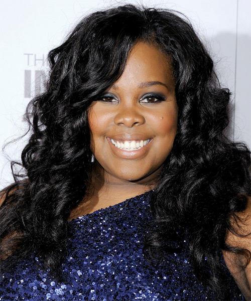 Amber Riley Long Curly Hairstyle - Black