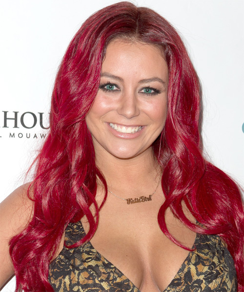 Aubrey O Day Long Wavy Hairstyle - Medium Red (Bright)