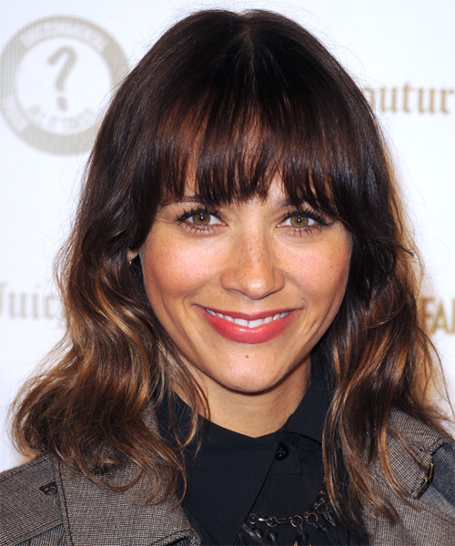 Rashida Jones  Medium Wavy Casual  with Blunt Cut Bangs - Dark Brunette