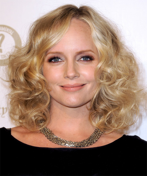 Marley Shelton Medium Curly Hairstyle - Medium Blonde (Golden)