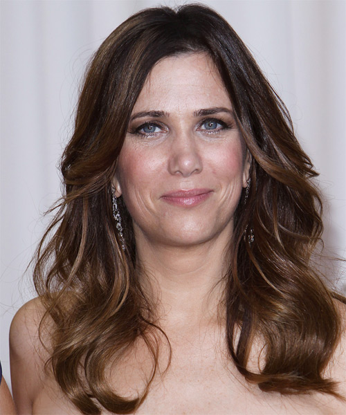 Kristen Wiig Long Wavy Hairstyle - Medium Brunette (Chocolate)