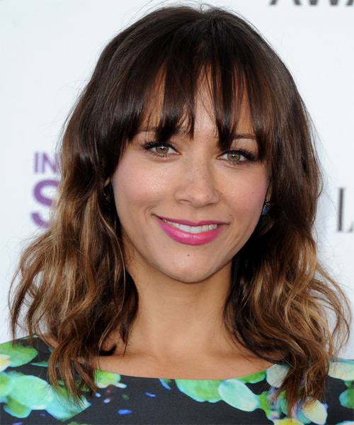 Rashida Jones Medium Wavy Casual  with Layered Bangs