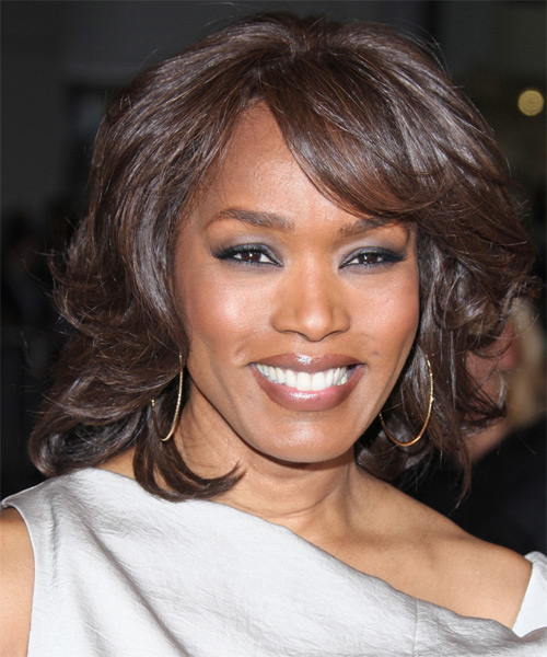 Angela Bassett Medium Wavy Formal Hairstyle with Side Swept Bangs - Dark Brunette Hair Color