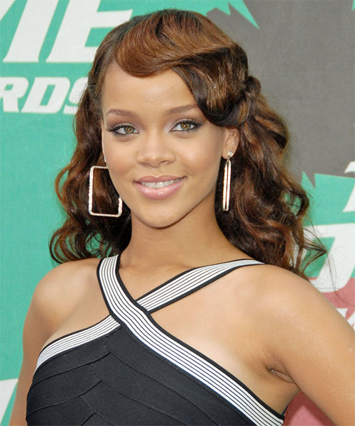 Rihanna Long Curly Formal Hairstyle - Light Brunette Hair Color