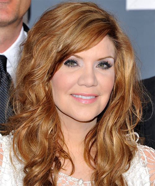 Alison Krauss Long Wavy Hairstyle - Light Brunette (Copper)