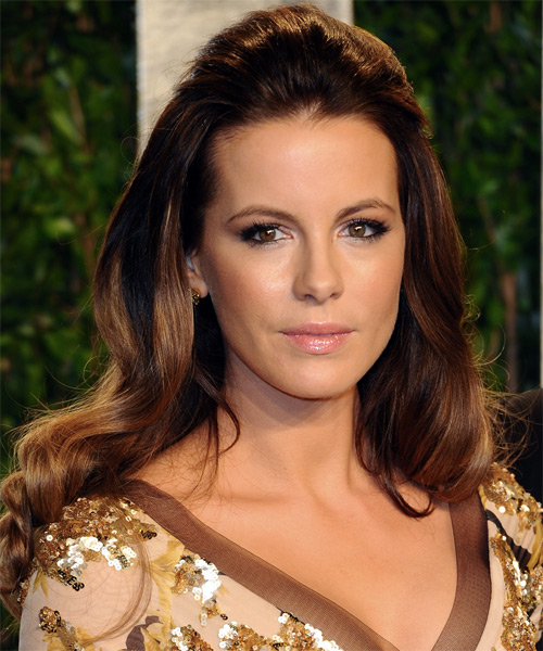 Kate Beckinsale Half Up Long Curly Hairstyle - Medium Brunette (Chocolate)