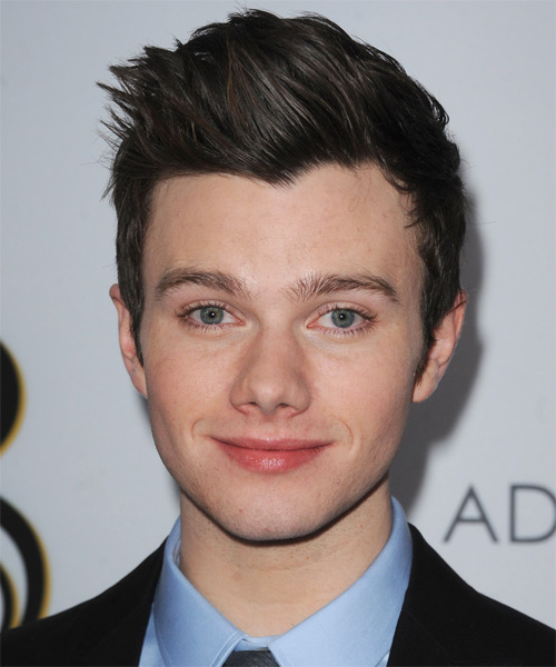 Chris Colfer Short Straight Casual Hairstyle - Dark Brunette (Ash) Hair Color