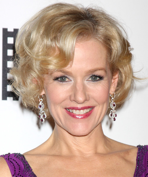 Penelope Ann Miller Short Curly Formal Hairstyle - Light Blonde (Champagne) Hair Color